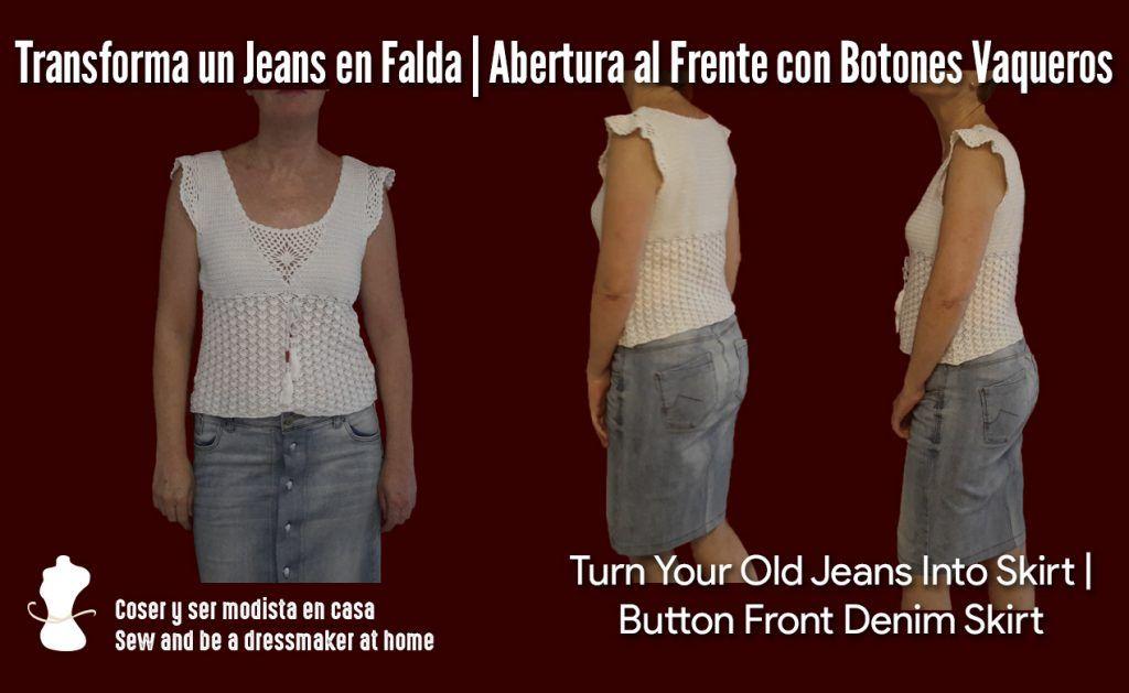 Transforma un Jeans en Falda Abertura al Frente con Botones Vaqueros